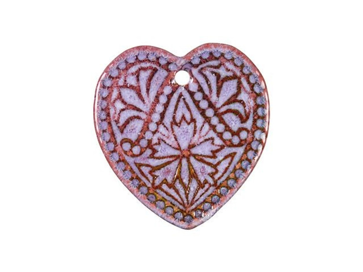 Gardanne Beads Lavender Enameled Brass Folk Heart Charm
