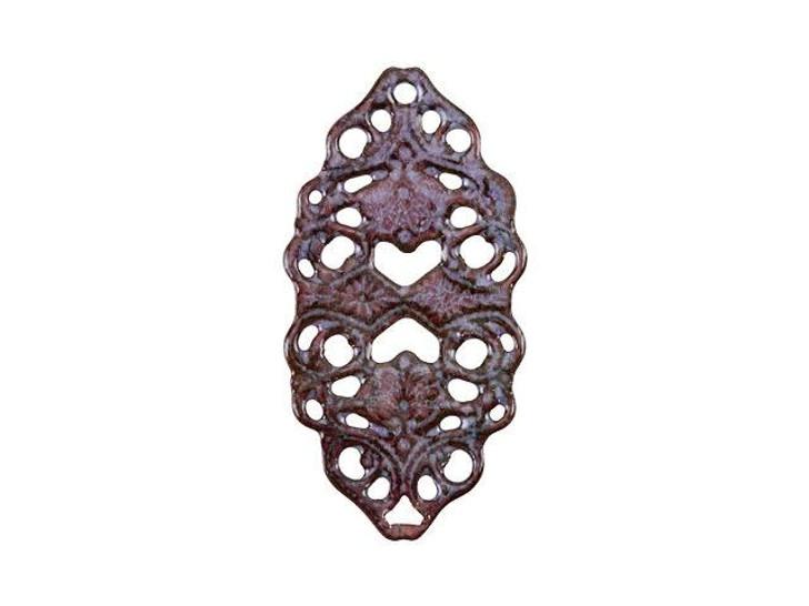Gardanne Beads Lavender Enameled Brass Oval Filigree Link