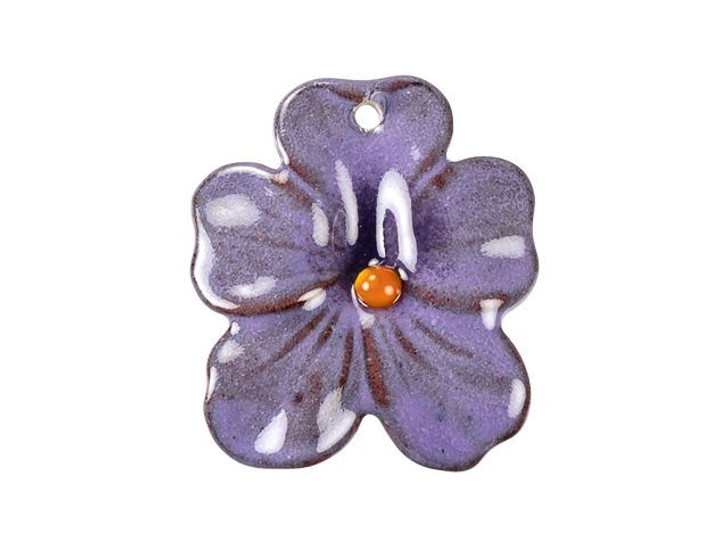 Gardanne Beads Lilac Purple Enameled Brass Small Pansy Pendant