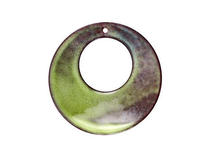 Gardanne Beads Lime Enameled Brass Donut Pendant