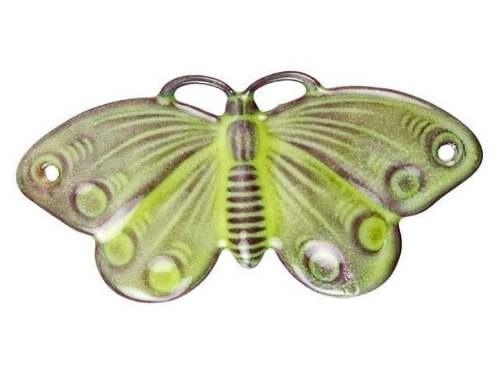 Gardanne Beads Lime Enameled Brass Moth Pendant