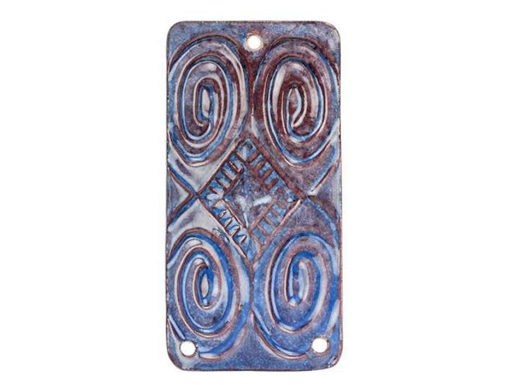 Gardanne Beads Pacific Blue Enameled Brass Large Spiral Garden Pendant Link
