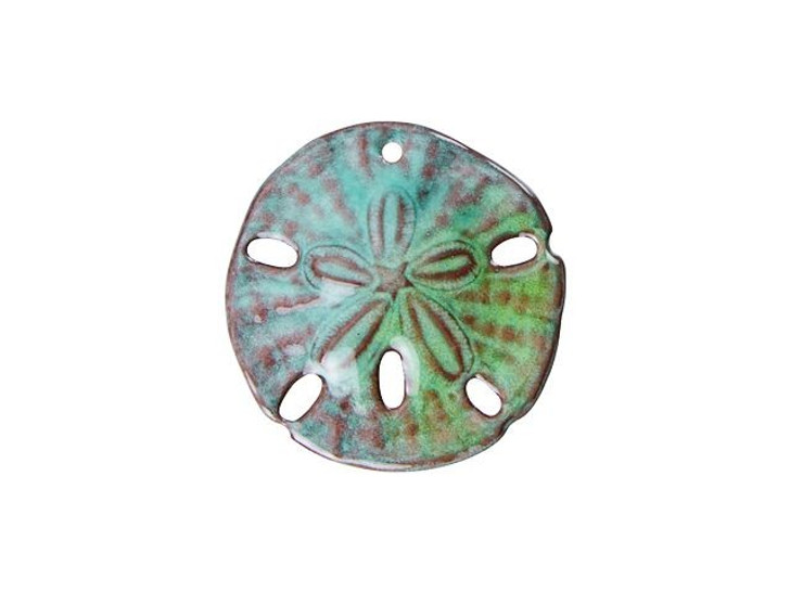 Gardanne Beads Peppermint Blend Enameled Sand Dollar Pendant