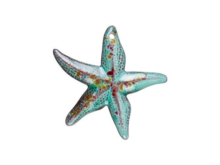 Gardanne Beads Peppermint Blend with Amber Accents Enameled Starfish Pendant