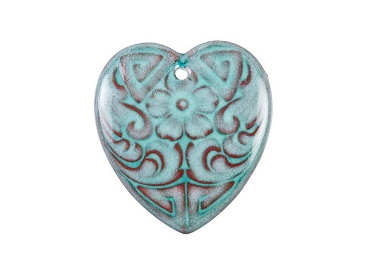 Gardanne Beads Peppermint Green Enameled Brass Etched Heart Charm