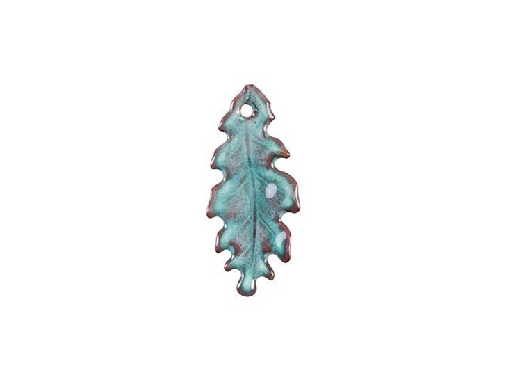 Gardanne Beads Peppermint Green Enameled Brass Extra Small Oak Leaf Charm