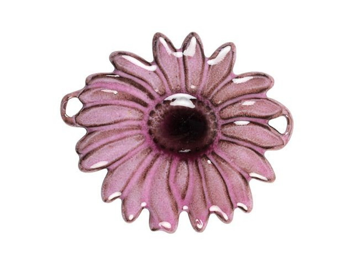 Gardanne Beads Pink English Daisy with Dark Mauve Center Link