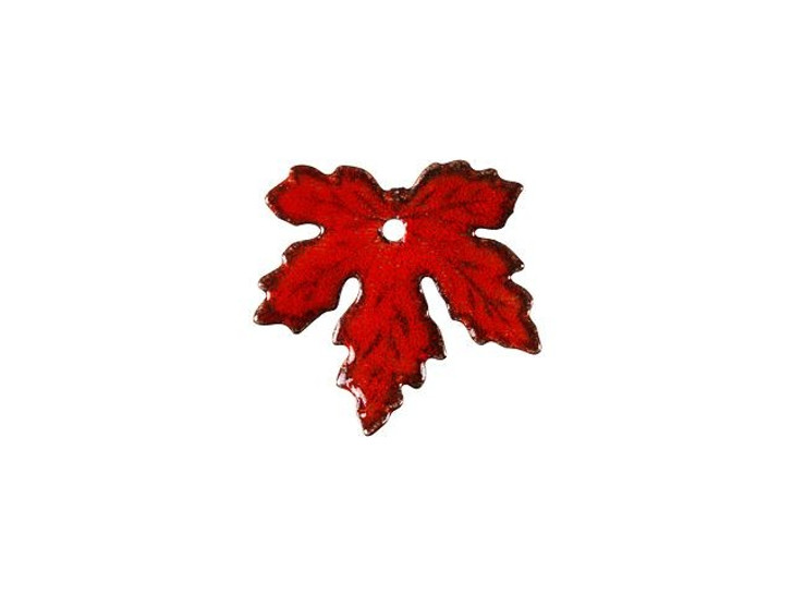 Gardanne Beads Red Enameled Brass Maple Leaf Charm