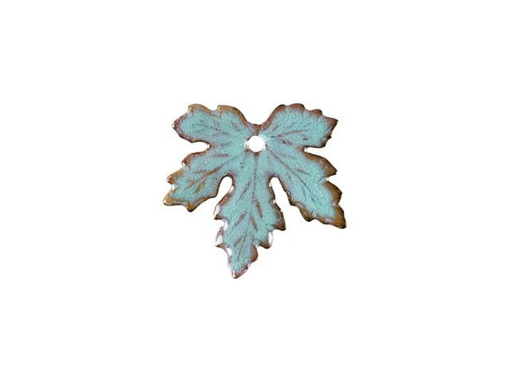 Gardanne Beads Seafoam Enameled Brass Maple Leaf Charm