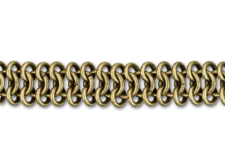 11mm Antique Brass-Plated Chain Maille Chain By the Foot