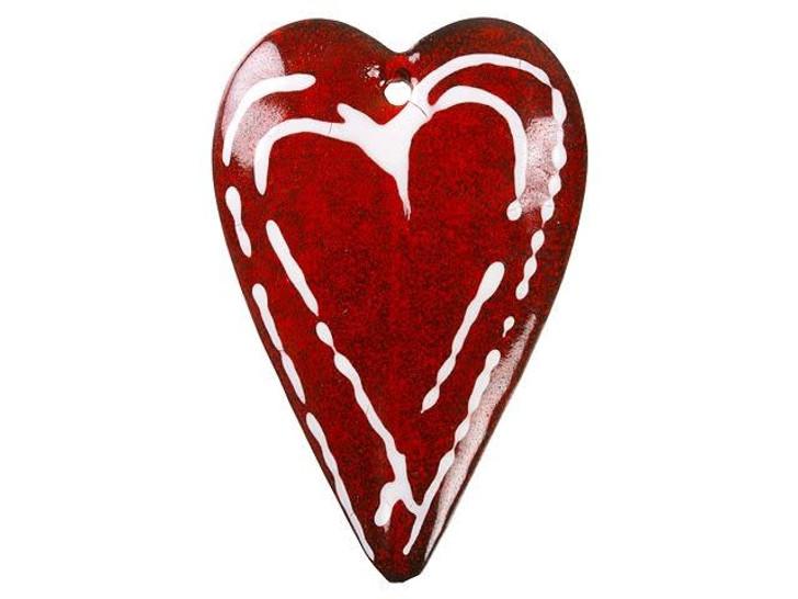 Gardanne Beads White Heart on Red Enameled Brass Large Heart Pendant