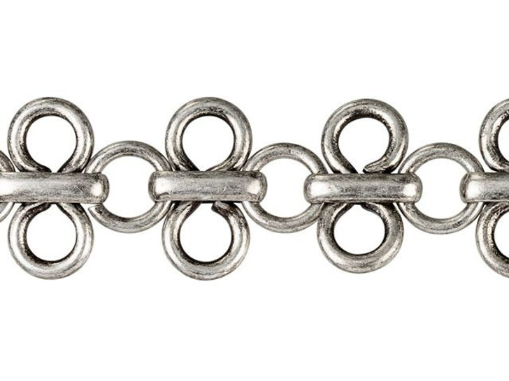 11mm Antique Silver-Plated Brass Lacy Loop Chain By the Foot