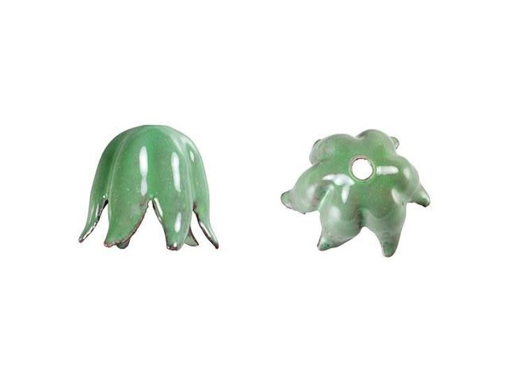 Gardanne Beads Willow Green Enameled Brass Small Tulip Bead Cap