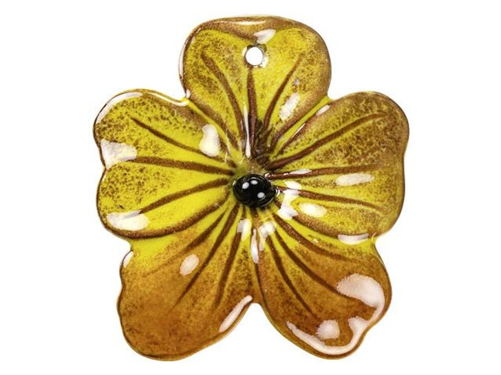 Gardanne Beads Yellow and Autumn Enameled Brass Large Pansy Pendant