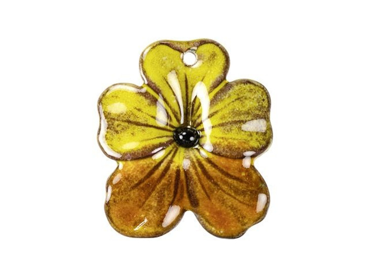 Gardanne Beads Yellow and Autumn Enameled Brass Small Pansy Pendant