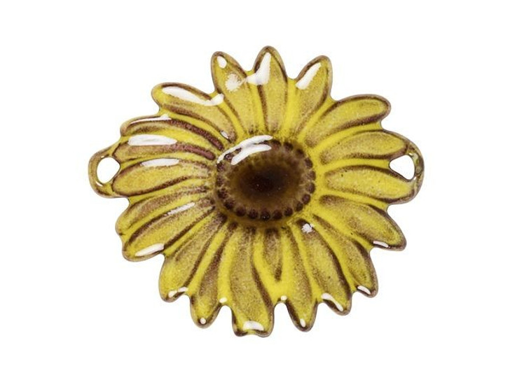Gardanne Beads Yellow English Daisy with Dark Mauve Center Link