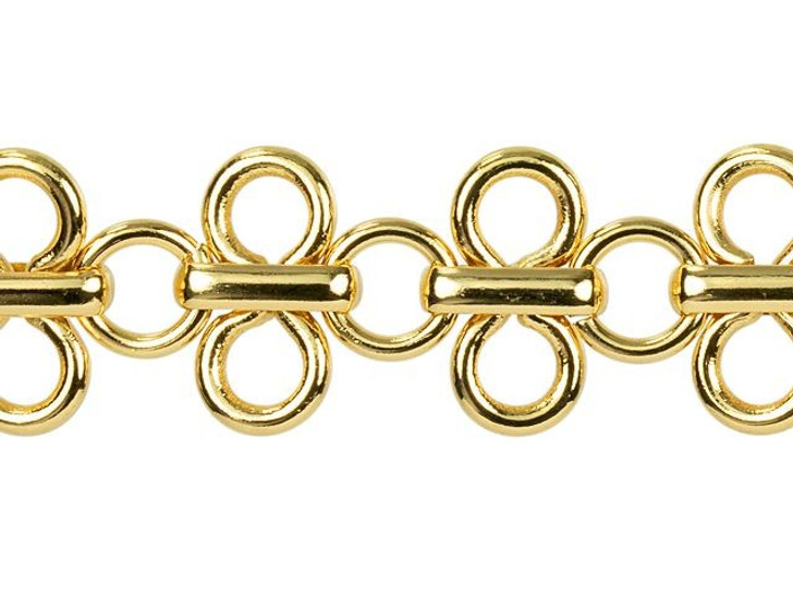 11mm Gold-Plated Brass Lacy Loop Chain By the Foot