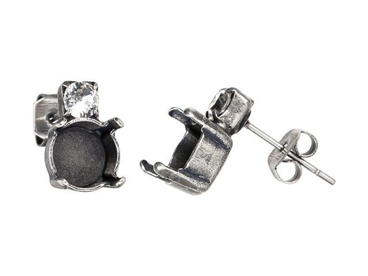 Gita 39ss Antique Silver Post Earrings with Clear Crystals (Pair)