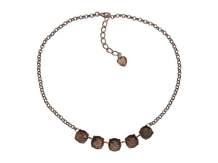 Gita Antiqued Copper Empty Cup Chain Rolo Necklace with 5 Settings for Swarovski 1122 12mm Rivoli