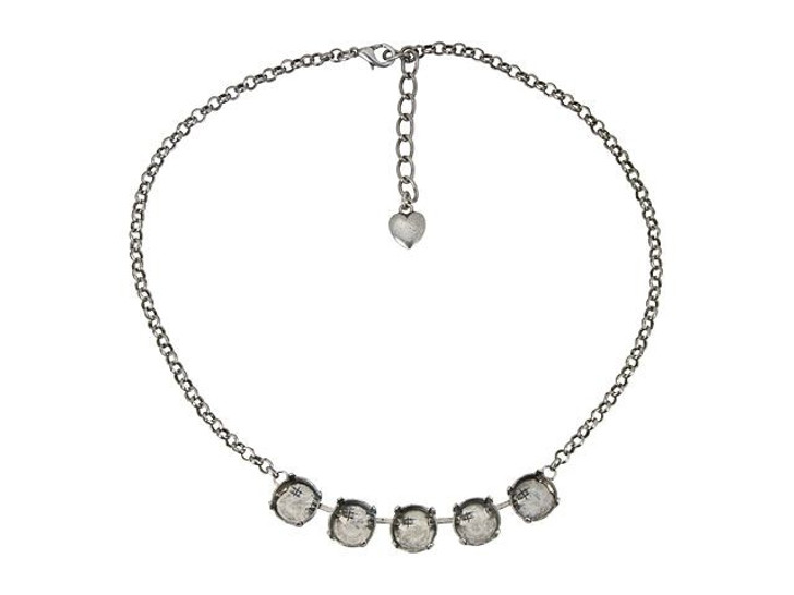 Gita Antiqued Silver Empty Cup Chain Rolo Necklace with 5 Settings for Swarovski 1122 12mm Rivoli