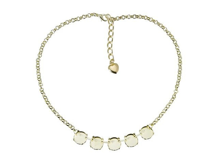 Gita Bright Gold Empty Cup Chain Rolo Necklace with 5 Settings for Swarovski 1122 12mm Rivoli