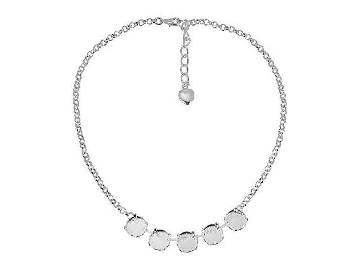 Gita Silver Empty Cup Chain Rolo Necklace with 5 Settings for Swarovski 1122 12mm Rivoli