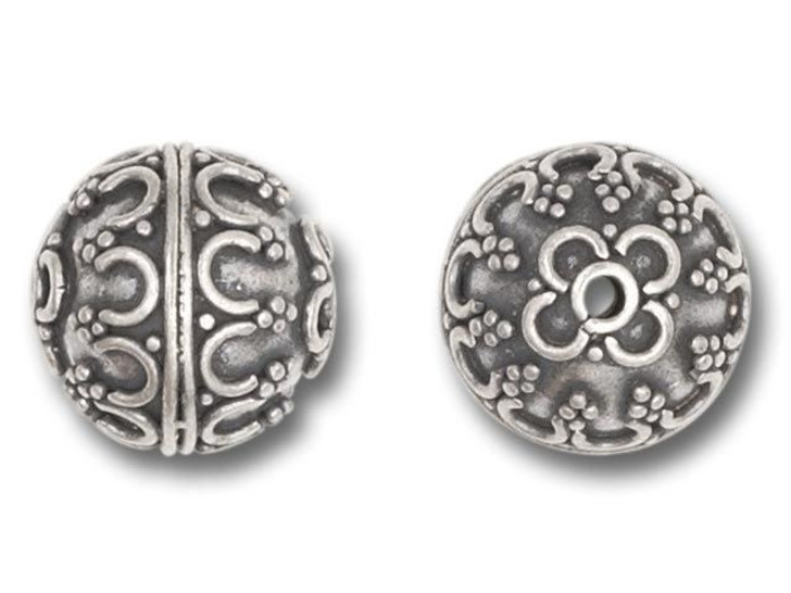 11mm Round Bali Silver Bead with Ornate Pattern
