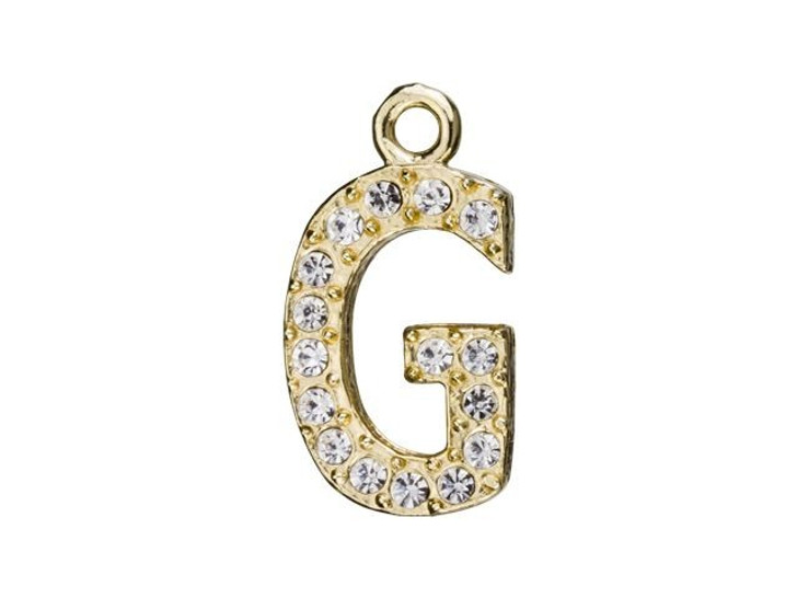 Gold Finish Letter G Pendant with Ring (12.5mm)