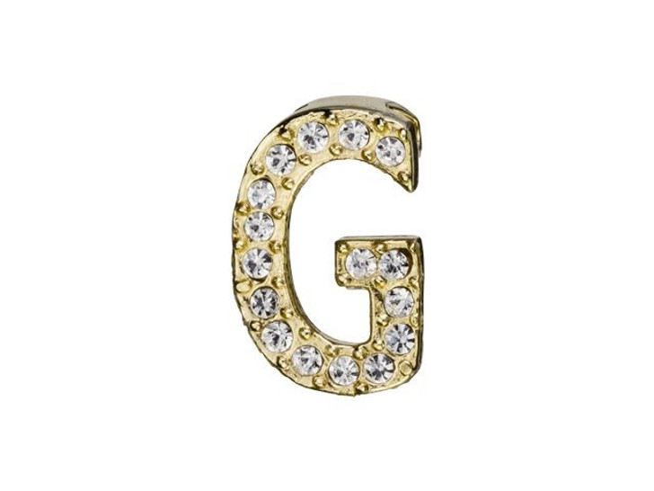Gold Finish Letter G Pendant with Tube Bail (12.5mm)