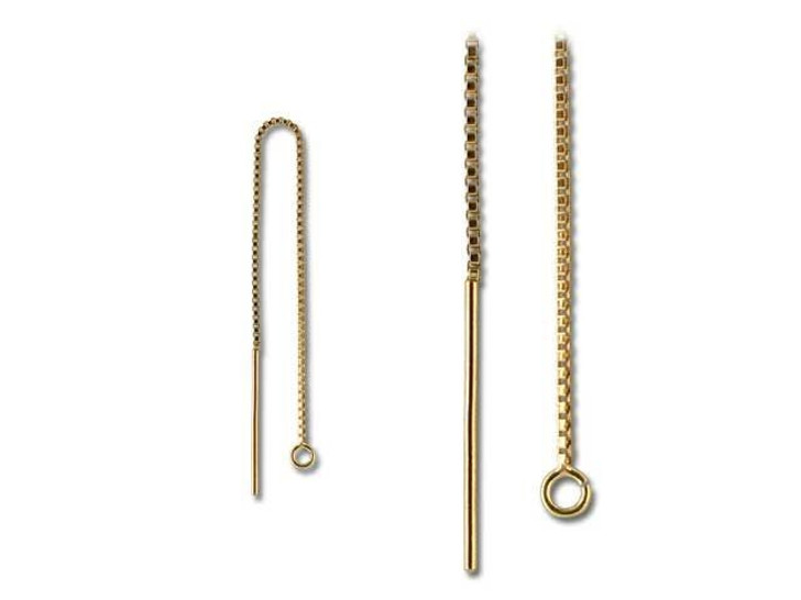 Gold-Filled 14K/20 Box Chain Ear Thread with Ring (Pair)