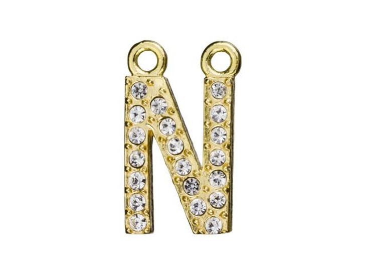 Gold Finish Letter N Pendant with 2 Rings (12.5mm)