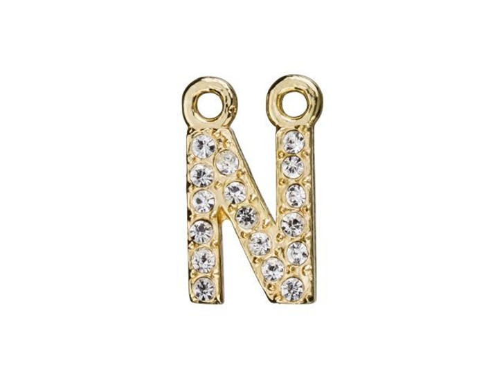 Gold Finish Letter N Pendant with 2 Rings (7mm)