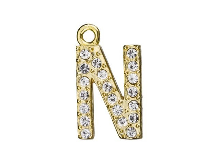 Gold Finish Letter N Pendant with Ring (12.5mm)