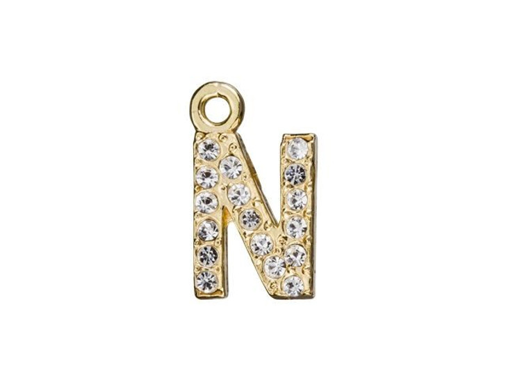 Gold Finish Letter N Pendant with Ring (7mm)