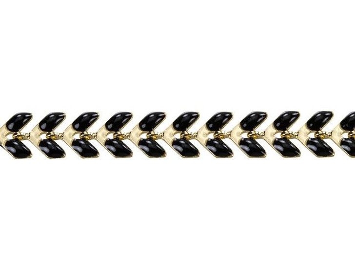 Gold-Plated Brass Chain with Black Enamel By the Foot