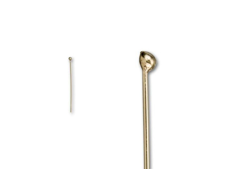Gold-Filled 1-Inch Head Pin with Ball End, 24 Gauge