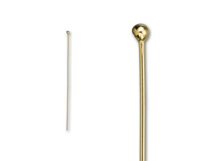 Gold-Filled 2-Inch Head Pin with Ball End, 24 Gauge