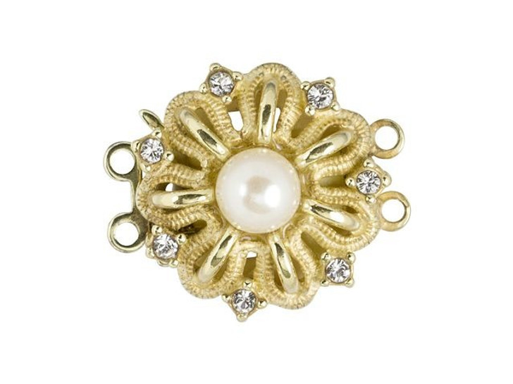 Gold-Filled Flower Clasp with Swarovski Pearl and Crystals