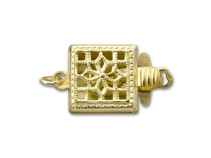 Gold-Filled Square Filigree Pearl Clasp
