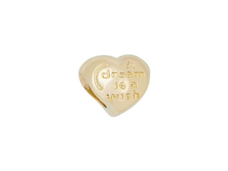 Gold-Finish A Dream Is A Wish Large-Hole Heart Bead