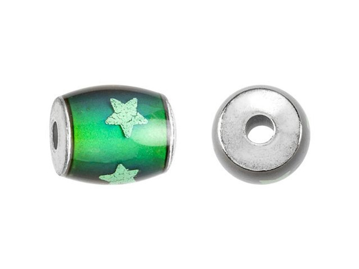 12 x 8mm Mirage Mood Barrel Bead with Glow in the Dark Stars