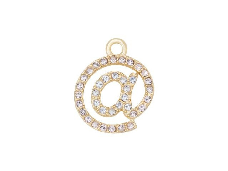 Gold-Finish At-Sign Charm with Violet Swarovski Crystals