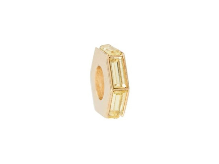 Gold-Finish Large Hole Bead with Jonquil Baguette Crystals