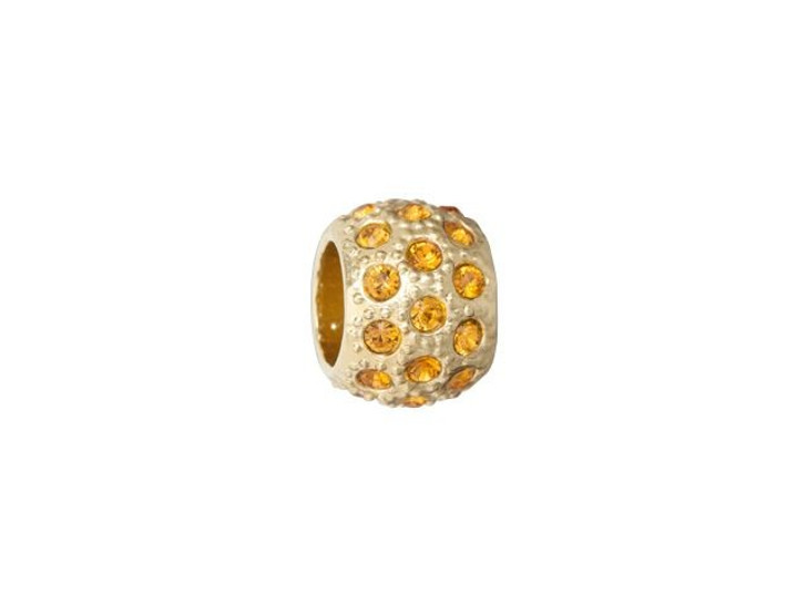 Gold-Finish Large-Hole Bead with Topaz Crystals