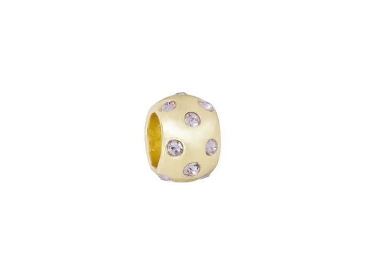Gold-Finish Plain Large-Hole Bead with Violet Swarovski Crystals