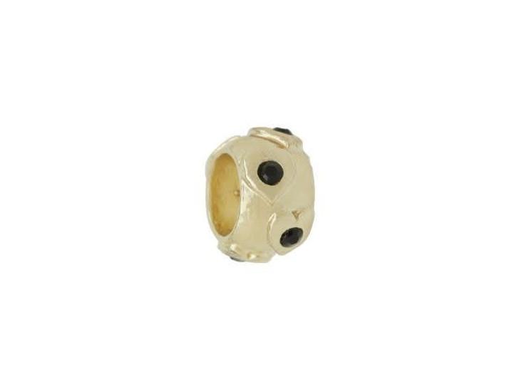 Gold-Finish Raised Hearts Large Hole Bead with Jet Swarovski Crystals