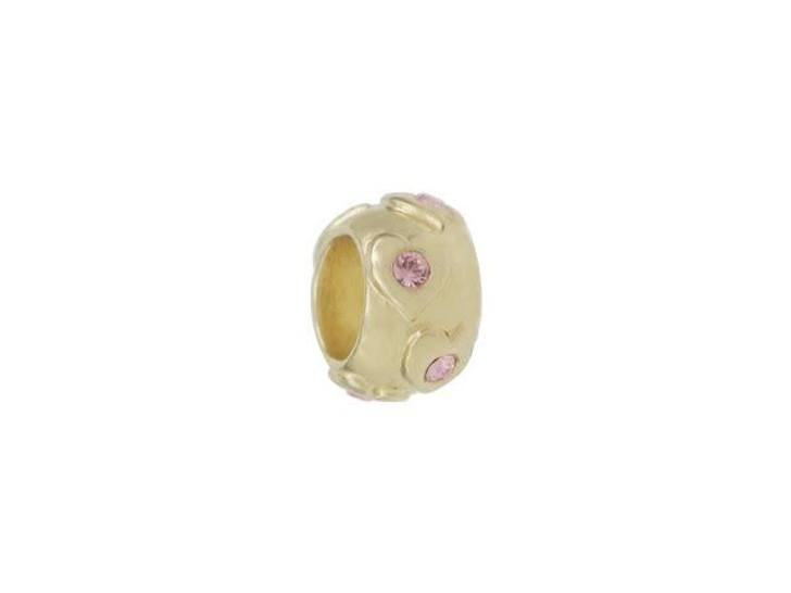 Gold-Finish Raised Hearts Large Hole Bead with Light Rose Swarovski Crystals