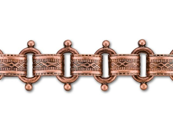 12mm Antique Copper-Plated Beaded Vintage Reproduction Chain by the Foot