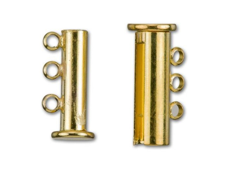 Gold-Plated 20x10mm 3-Ring Magnetic Tube Clasp
