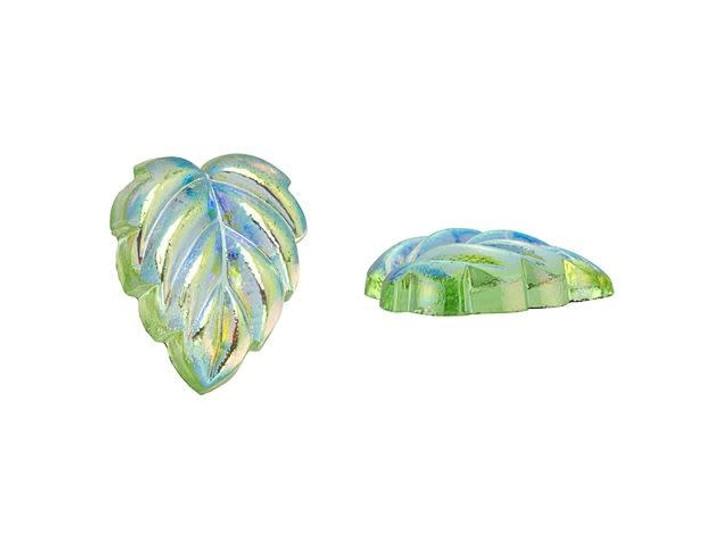 12mm Czech Glass Leaf Foiled Back Cabochon - Peridot AB